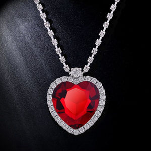 Jewelry - Ruby Red Crystal Heart Titanic Necklace New